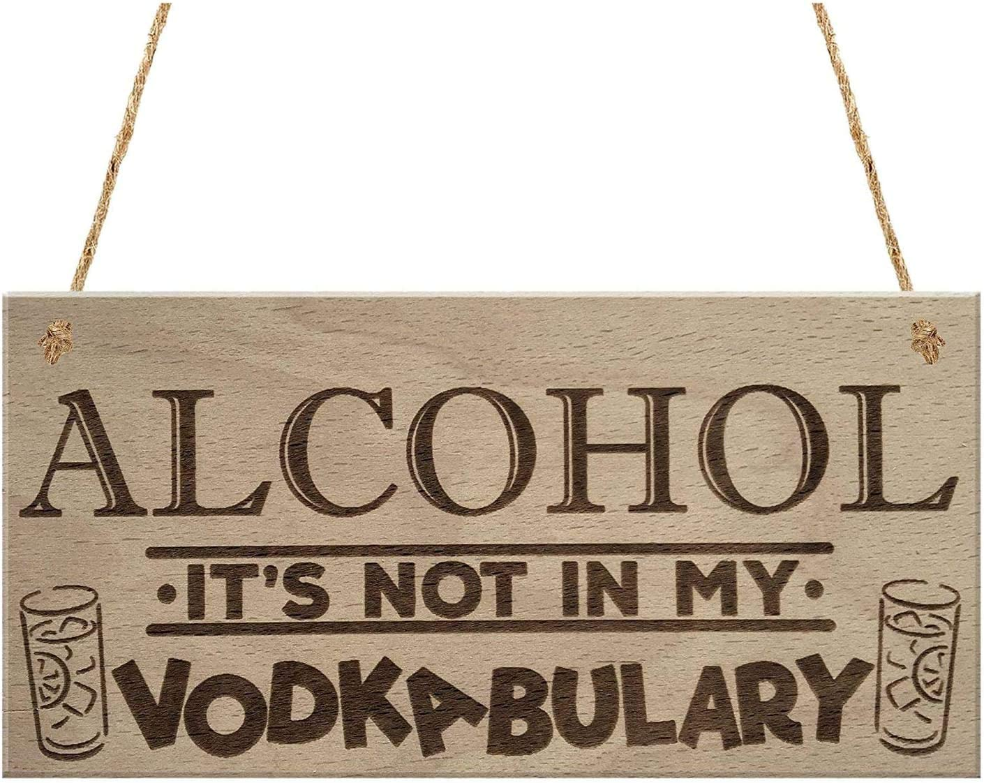 MAIYUAN Alcohol It's Not in My Vodkabulary Funny Drink Vodka Friendship Gift Hanging Wood Plaque Joke Sign(UG1297)