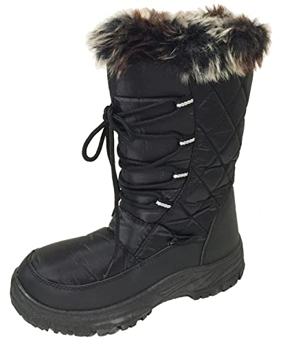 GV-A61S Women's Winter Boots Cold Weather Fur Full Lined Fashion Insulated Side Zipper Water Resistant Warm Snow Ski Shoes Black