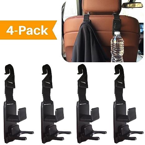 de asiento de coche reposacabezas colgadores ganchos organizador de asiento de coche para bolsos, mochilas, bolsos, abrigos y bolsas de supermercado, ...