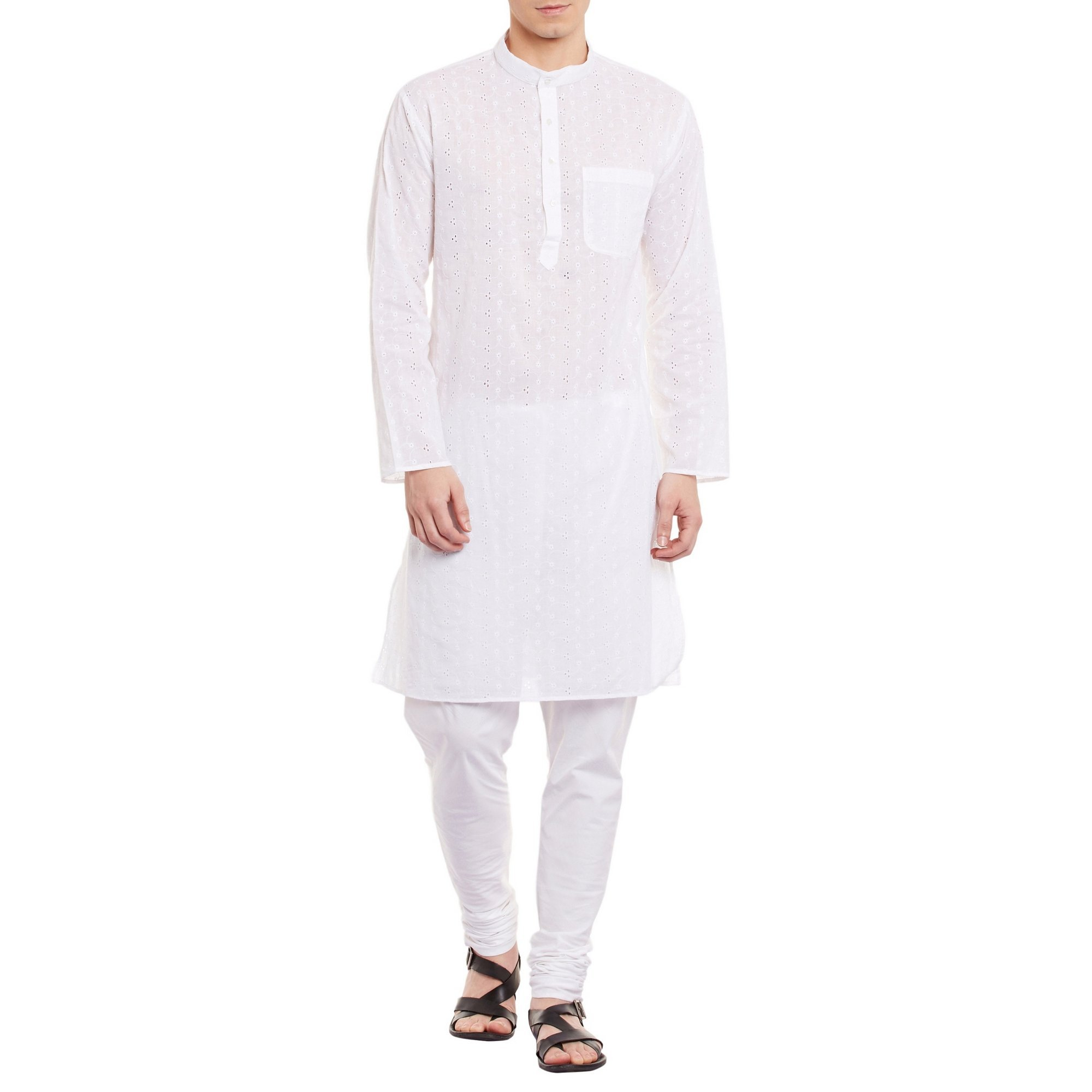 Mens Embroidered Cutwork Cotton Kurta With Churidar Pajama Trousers Machine Embroidery,Off White Chest Size: 36 Inch