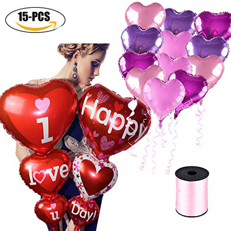 Amazon.com: Coxeer Wedding Balloons, 15PCS Heart Shaped Balloon I ...