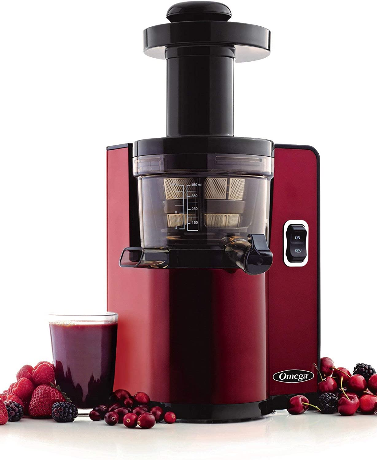 Omega VSJ843QR Vertical Slow Masticating Juicer Makes Continuous Fresh Fruit and Vegetable Juice at 43 Revolutions per Minute Features Compact Design Automatic Pulp Ejection, 150-Watt, Red (Renewed)