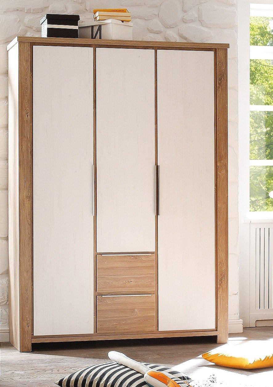 AVANTI TRENDSTORE - Gudi - Kleiderschrank mit 3 Türen & 2 Schubkästen aus Sterling Eiche / weiß, ca. 139x189x49 cm