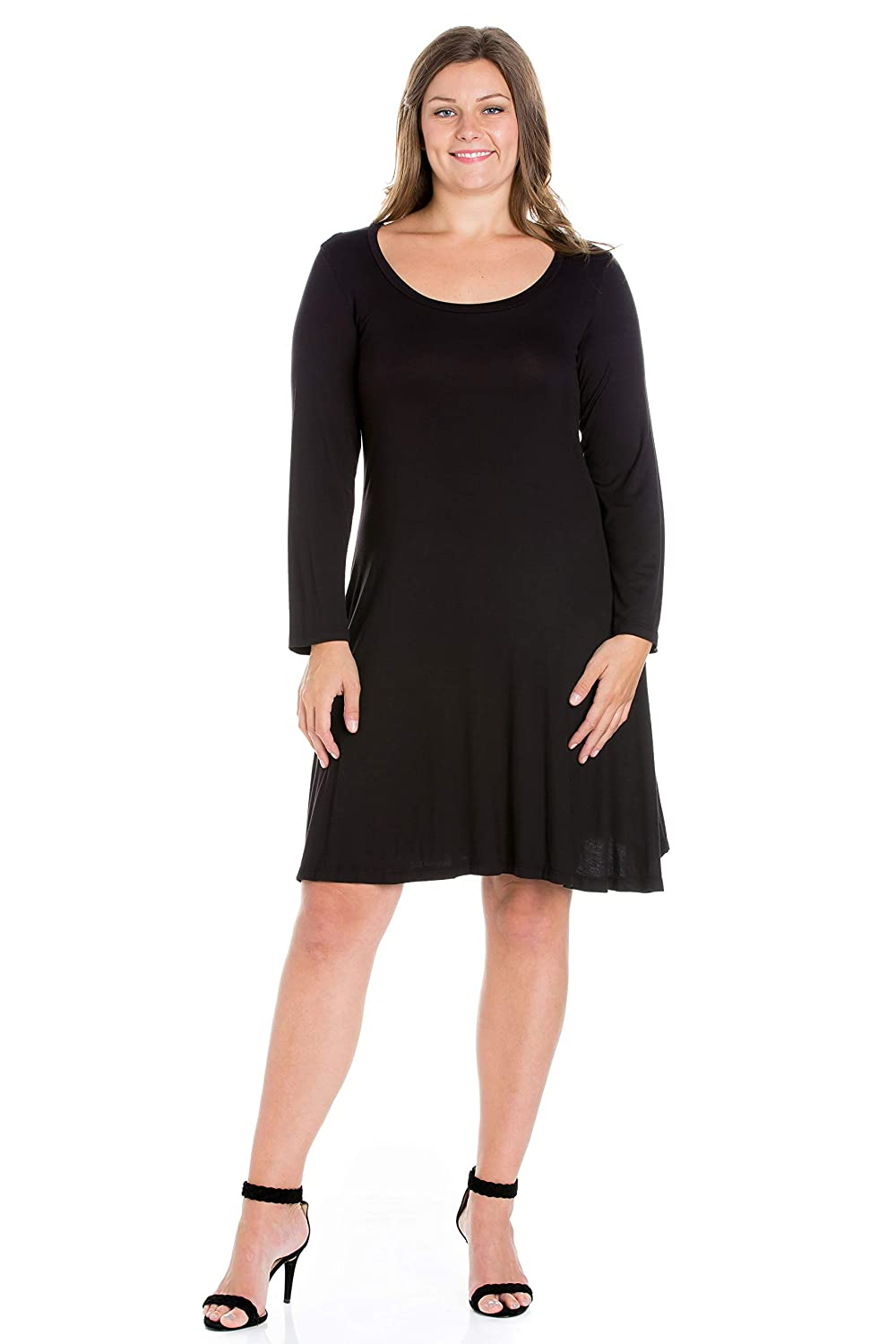 8bccdf9fb6 24seven Comfort Apparel Women's Plus Size Long Sleeve Scoop Neck Knee Length  A Line Dress - Made in USA - (Sizes 1XL-6XL) at Amazon Women's Clothing  store: