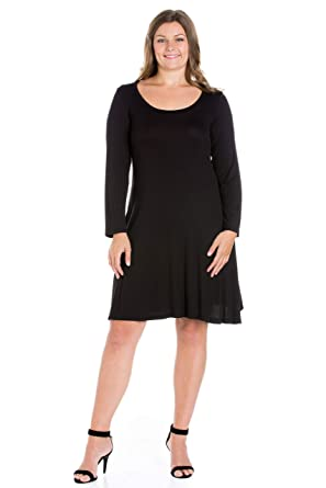9eb1fe4bb4 24seven Comfort Apparel Women's Plus Size Long Sleeve Scoop Neck Knee Length  A Line Dress -