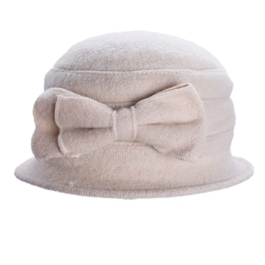 b882df4bf48 Lawliet Solid Color Womens Winter 100% Wool Bow Bucket Cloche Dress Hat  T174 (Beige