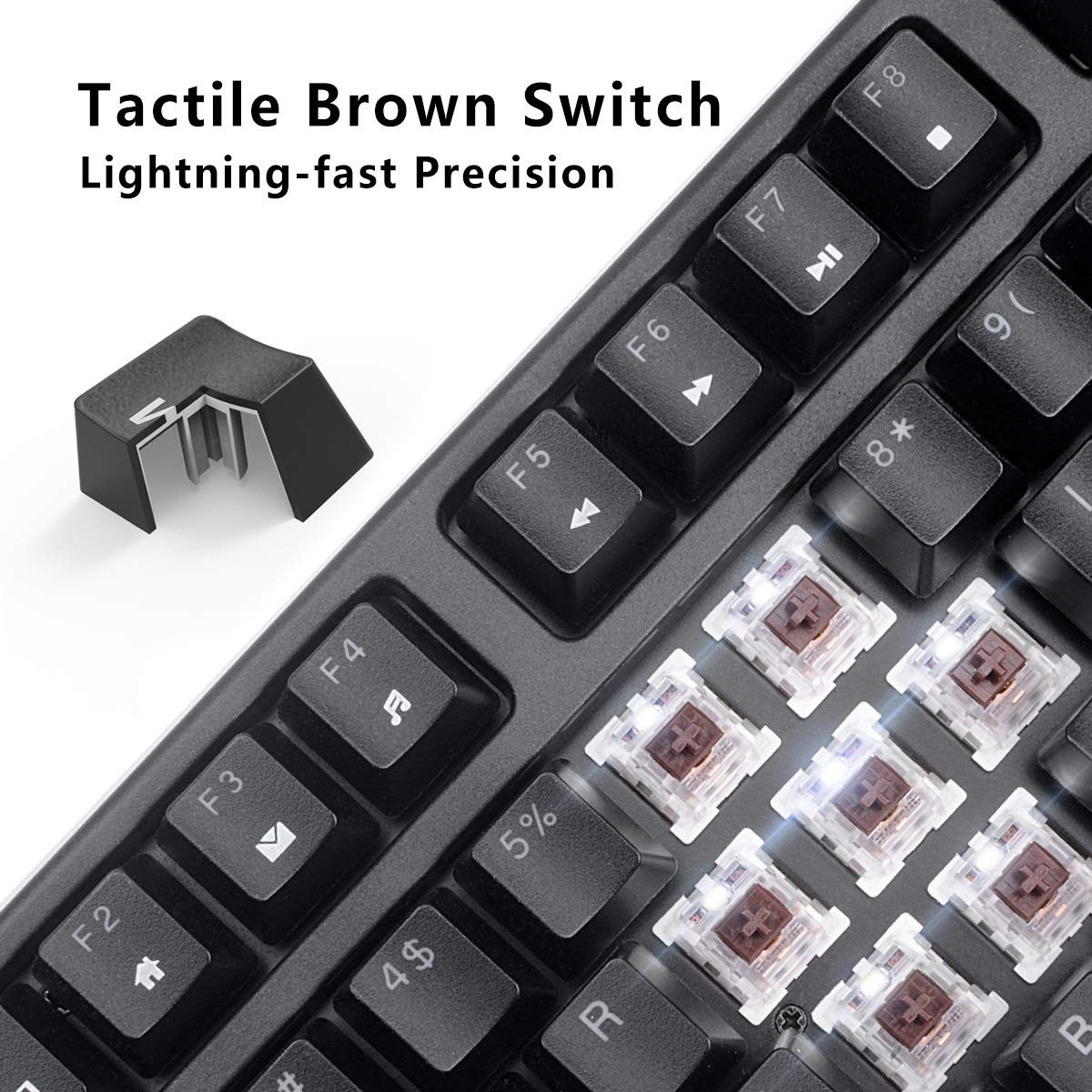 9612ad2c715 VELOCIFIRE TKL02 Wireless 87 Key Mechanical Keyboard with Brown Switches  and White LED Backlit for Copywriters ...