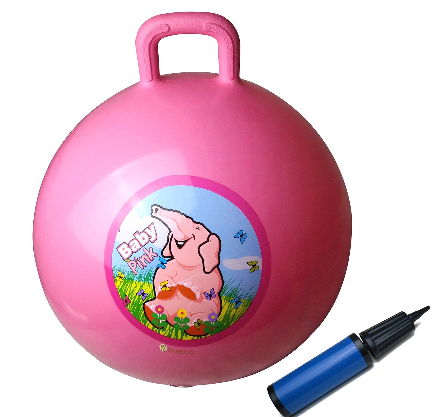 Kangaroo Bouncer Diameter 45cm//18 Inch for Ages 3-6 GreEco Space Hopper Ball Including Free Pump Pink Hippity Hop Bouncing Toy