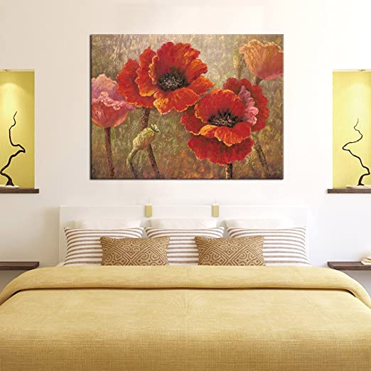 Canvas Wall Art Red Flower Painting Framed Wall Art Decor - Contemporary Artwork Red Poppy Blossom Painting 30