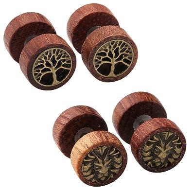 567dcff8b Amazon.com: Zysta 2-4 Pairs Wooden Stud Earring Vintage Stainless Steel  Fake Ear Gauge 10MM Earrings Ear Plugs Lion Piercings Hypoallergenic Screw:  Jewelry