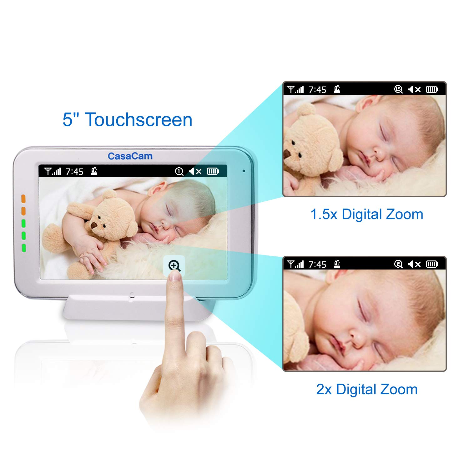 CasaCam BM200 Video Baby Monitor with 5'' Touchscreen and HD Pan & Tilt Camera, Two Way Audio, Lullabies, Nightlight, Automatic Night Vision and Temperature Monitoring Capability (1-cam kit) by CasaCam (Image #8)