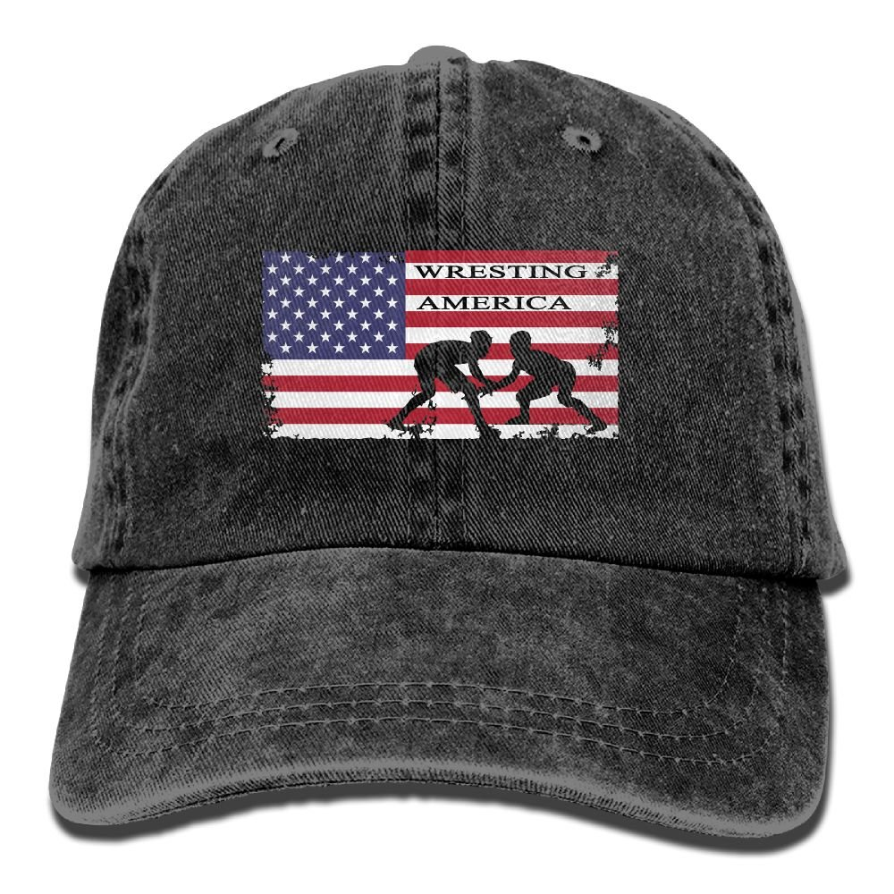 American Flag Wrestling Men's Or Women's Cotton Denim Fabric Sun Hat Adjustable Jeans Baseball Hat by WE9SAW