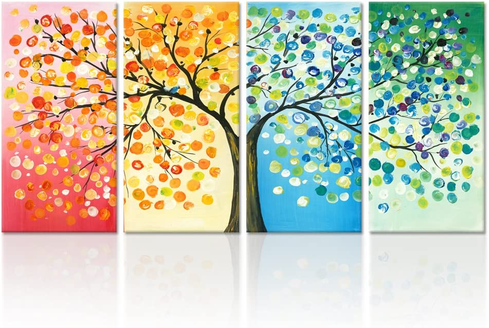 Four Seasons Tree 5 Pieces Canvas Wall Art Poster Print Home Decor