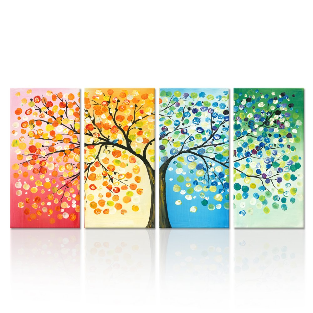 Kreative Arts - 4 Seasons Colorful Lucky Tree Painting Canvas Wall Art Abstract Contemporary Oil Paintings Giclee Prints for Home on Wall Canvas for Living Room Decration (Large Size 16x32inchx4pcs)