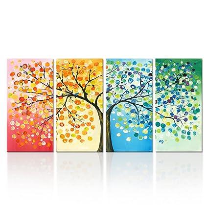 amazon com kreative arts 4 seasons colorful lucky tree painting