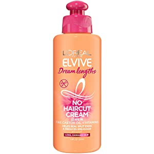 L'Oreal Paris Elvive Dream Lengths No Haircut Cream Leave In Conditioner with Fine Castor Oil & Vitamins B3 & B5 for Long, Damaged Hair, Helps Seal Split Ends & Reduces Breakage With System, 6.8