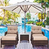 Shintenchi Outdoor Furniture 5 Pieces Set,All Weather PE Wicker Rattan Patio Conversation Set with Cushioned Patio Chairs, Ot