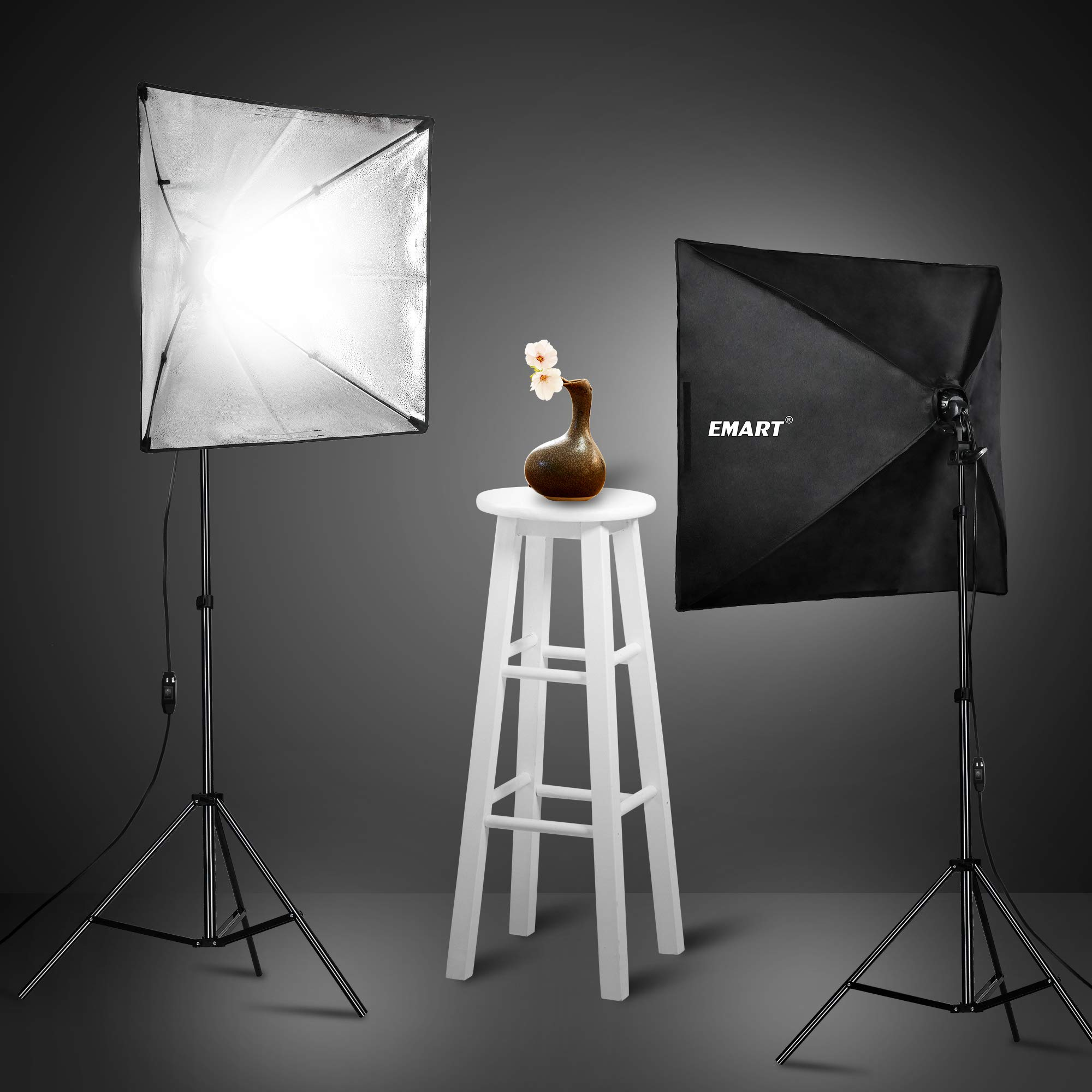 Emart 900W Softbox Lighting Kit Photography Continuous Photo Studio Light System for YouTube Video Shooting Soft Box 24'' x 24'' by EMART (Image #6)