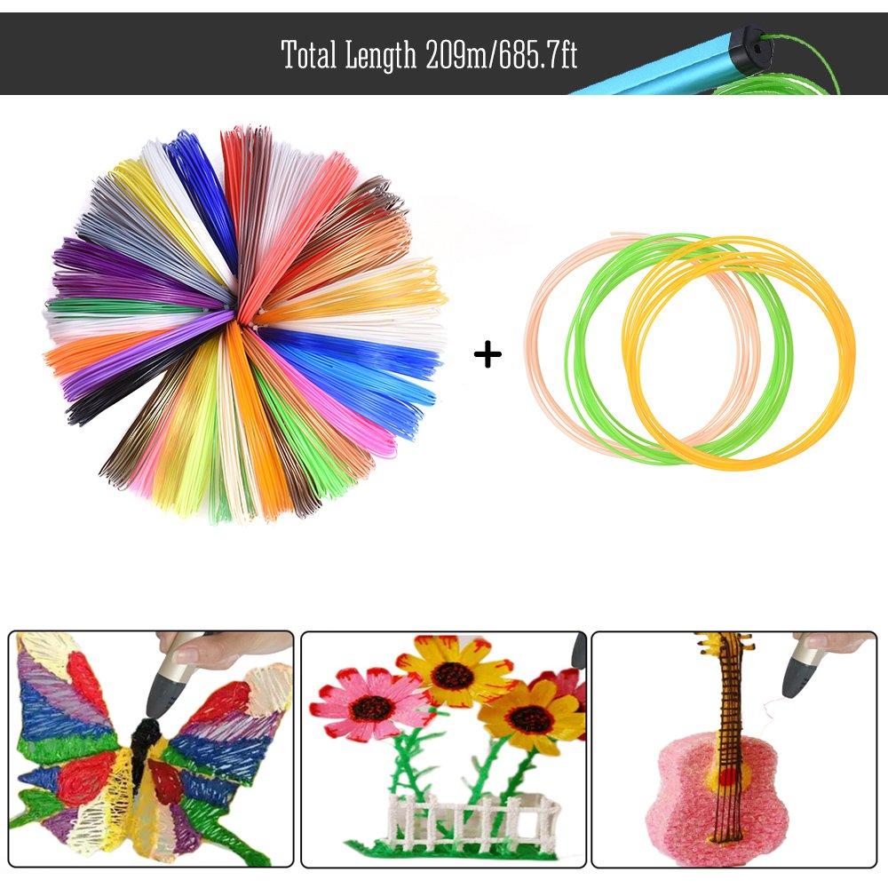 Aibecy Pen stampa 3D Stampante Intelligenza Disegno Schermo OLED w//200m//656.2ft ABS+9m//29.5ft PLA Filamento 1,75mm per DIY Doodling Arte Artigianato Fare Bambini Regalo 20 Colori Assortiti Filament