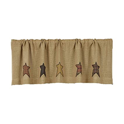 VHC Brands Primitive Kitchen Window Curtains Stratton Tan Burlap Applique  Star Valance