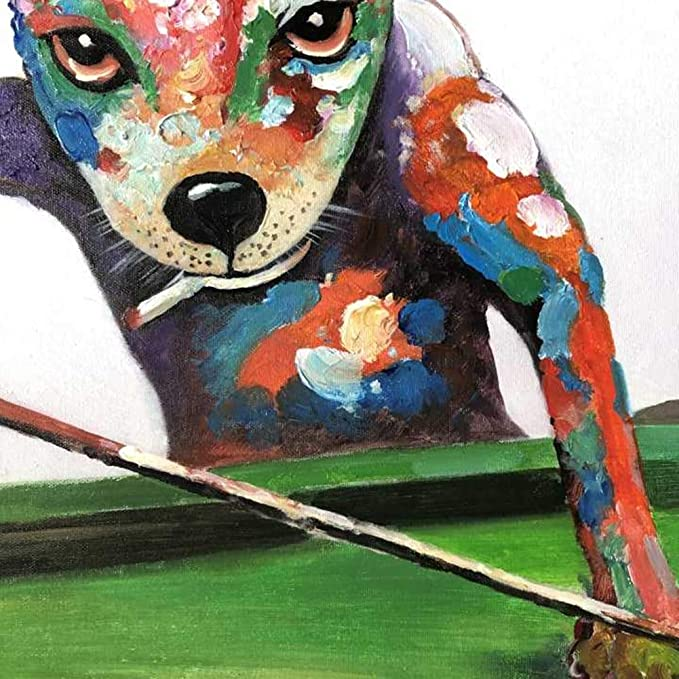 Dibujado a Mano Animales Jugar al Billar Perro Pintura ...