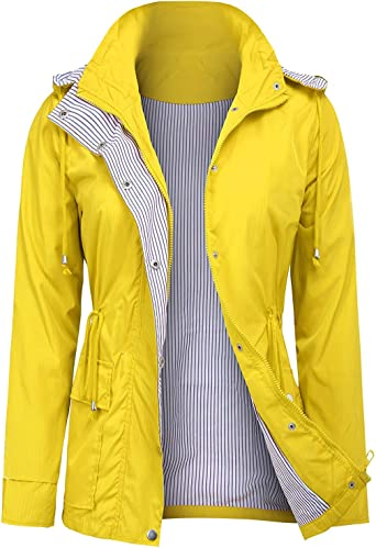 UUANG Raincoats Waterproof Rain Jacket Active Outdoor Detachable Hooded Womens Trench Coats