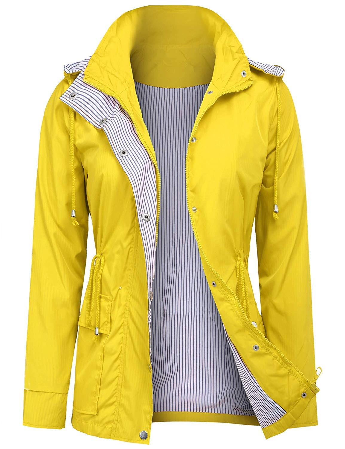 UUANG Women's Military Jacket Rain Repellent Water-Resistant Trench with Hood (Yellow,M) by UUANG