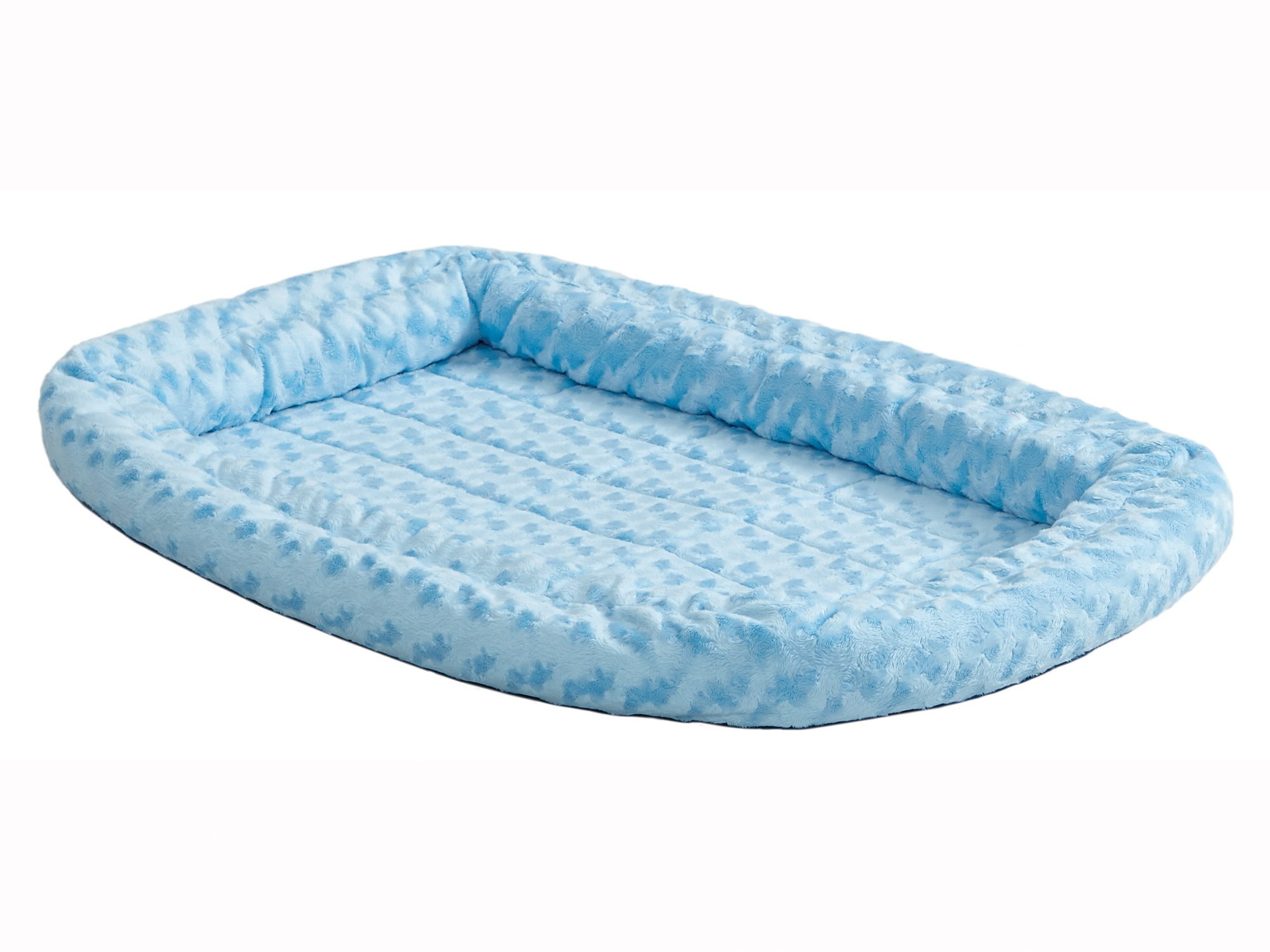 Double Bolster Pet Bed | Blue 18-Inch Dog Bed ideal for Toy Dog Breeds & fits 18-Inch Long Dog Crates