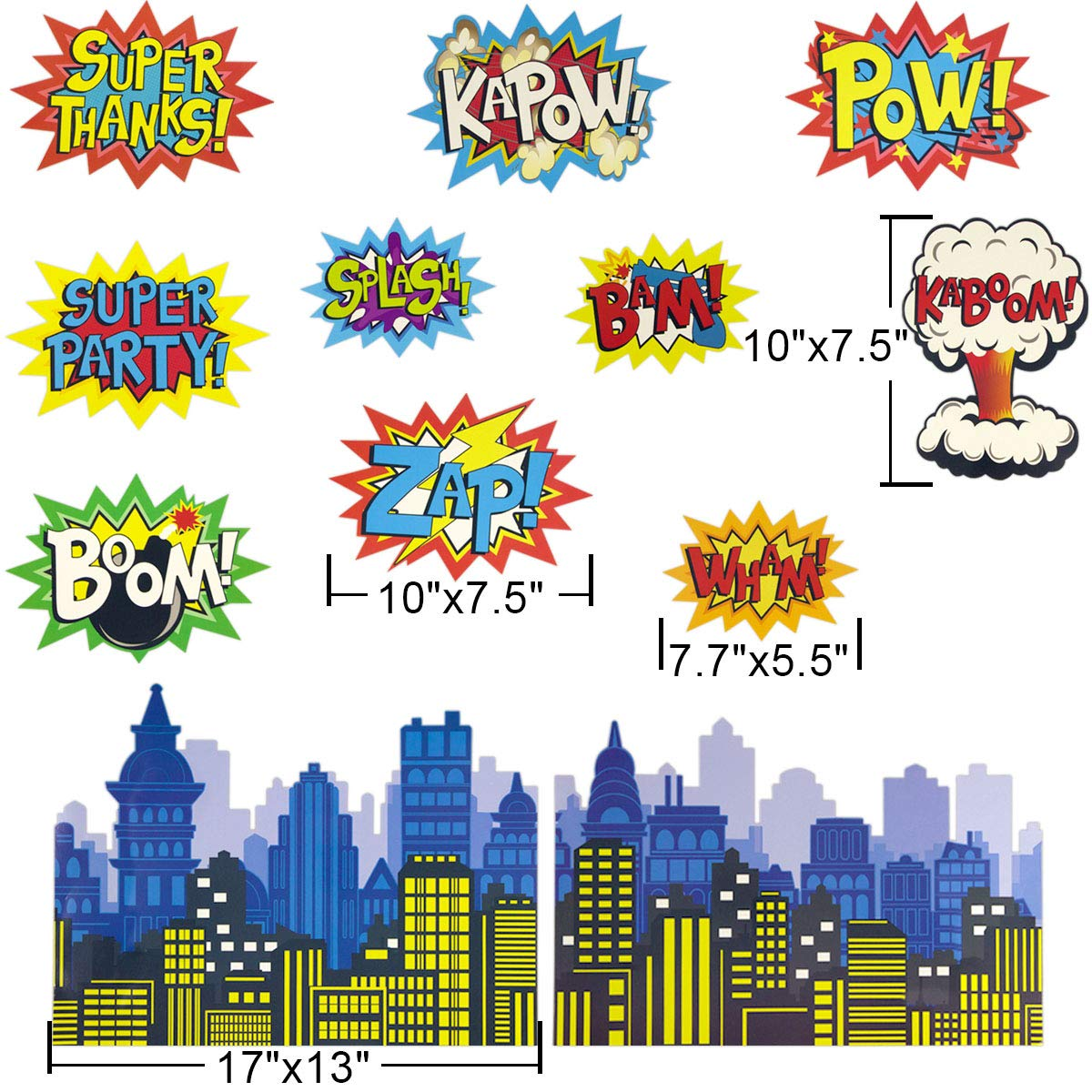 Large Superhero Action Signs Cutouts 12PCS Words and Cityscape Cut-Outs for Party Decoration by Fancy Land (Image #2)