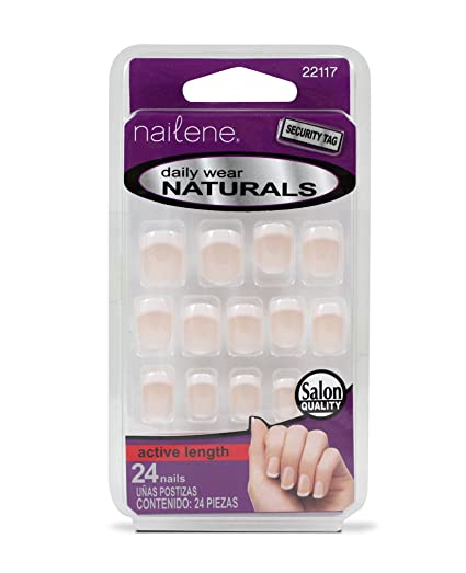Uñas postizas Nailene Tip, con punta redonda, para uso diario y con base brillante