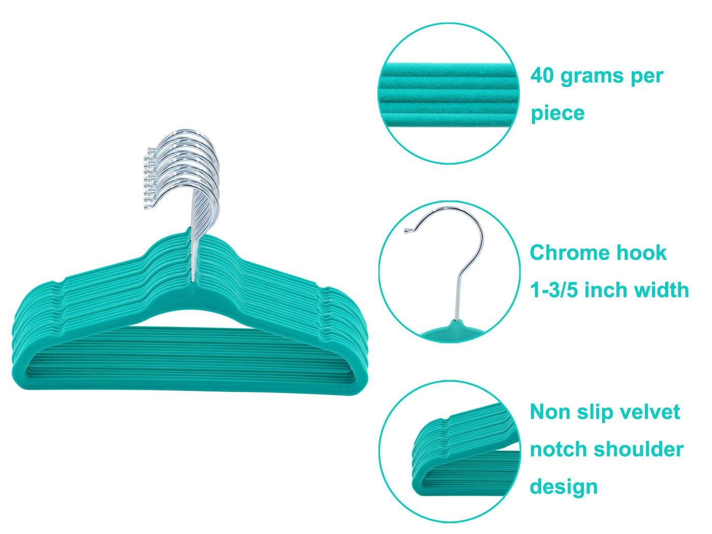 TQVAI 50 Pack Baby Velvet Clothes Hangers Non Slip Space Saver Beige