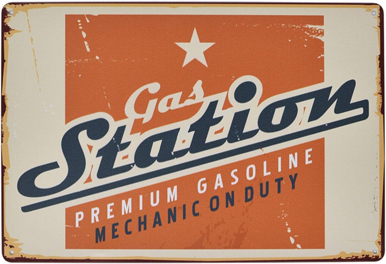 Flytime Gas Station Retro Metal Tin Sign Vintage Garage Man Cave Retro Posters Bar Pub Wall Decor Coffee Signs 8X12Inch