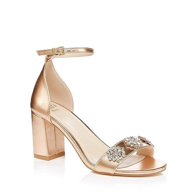 9b8af6f23df Faith Womens Rose Pink Jewel Encrusted Block Heel Wide Fit Sandals ...