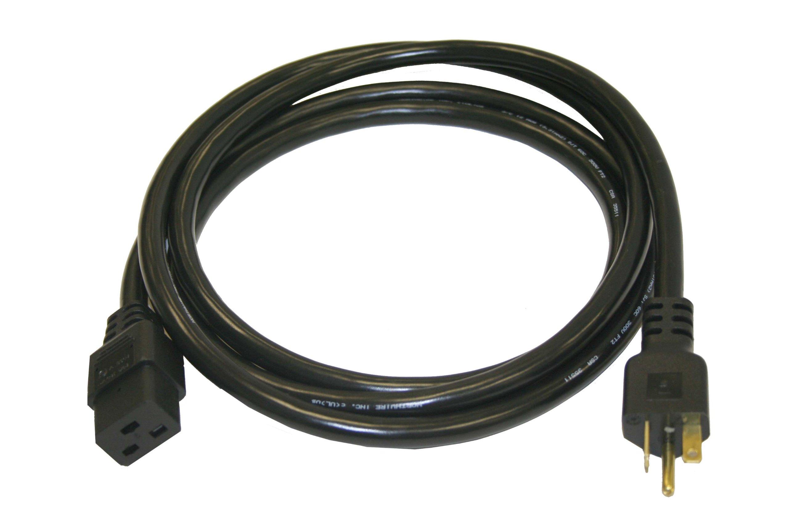 Interpower 86226020 North American NEMA 5-20P, Cord Set, NEMA 5-20P Plug Type, IEC 60320 C19 Connector Type, Black Plug Color, Black Cable Color, 20 Amps, 125 VAC Voltage, 2.5 m Length