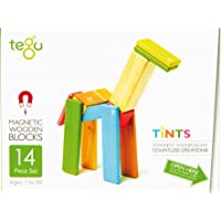 Tegu Magnetic Wooden Block Set, Tints,14 Piece