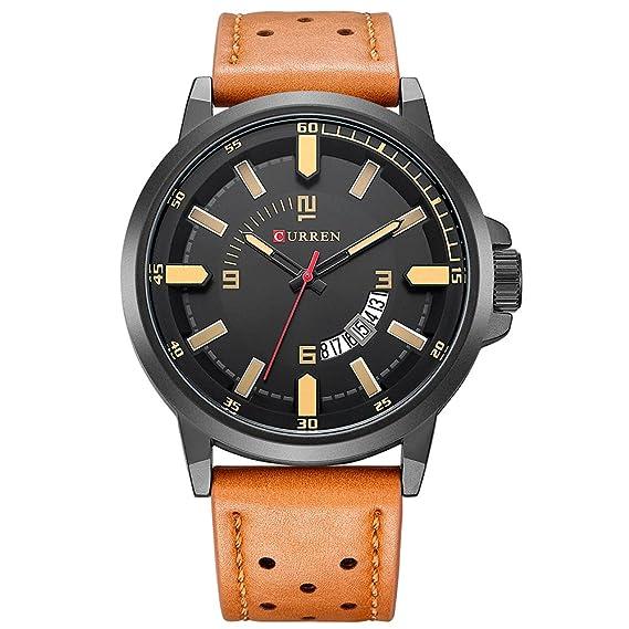 Curren Hombres Relojes Relojes militares de lujo Moda Casual Fecha automática Quartzwatch Naranja: Amazon.es: Relojes