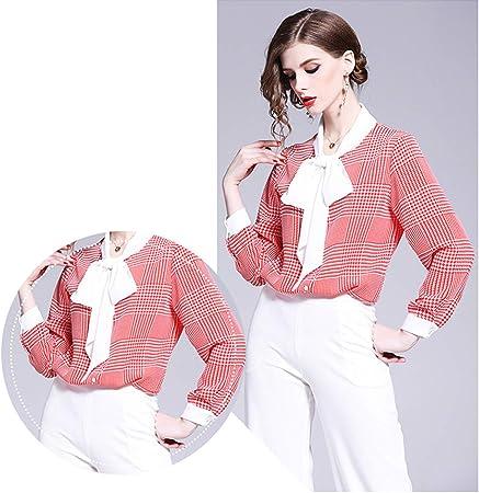 XCXDX Camisa A Cuadros Roja Y Blanca con Lazo De La Cinta ...