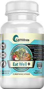 UpWellness: Eat Well + - Broad Spectrum Digestive Enzymes - Supports Weight Loss, Digestion, and Metabolism - 90 Veggie Capsules - 7 Essential Ingredients for Gut Care - Physician Formulated