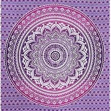 Fairdecor Pink Purple Ombre Mandala Tapestries Mandala Hippie Wall Hanging Queen Size Large Mandala Tapestry Bohemian Wall Art Mandala Tapestries Wonder Colour Mandala Tapestry