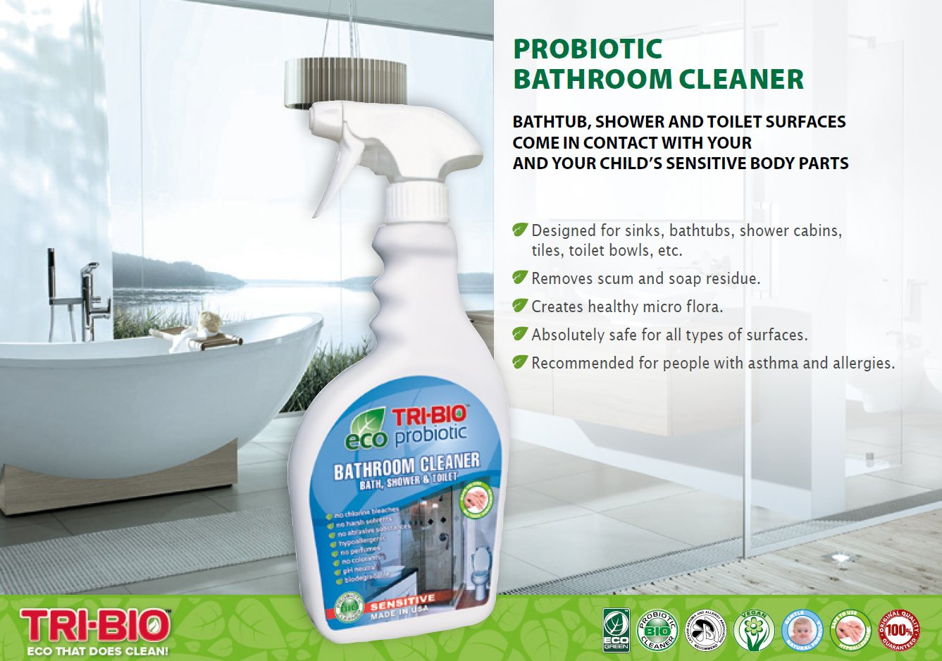 TriBio Probiotic Eco Bathroom Shower And Toilet Cleaner Spray - Safe bathroom cleaner