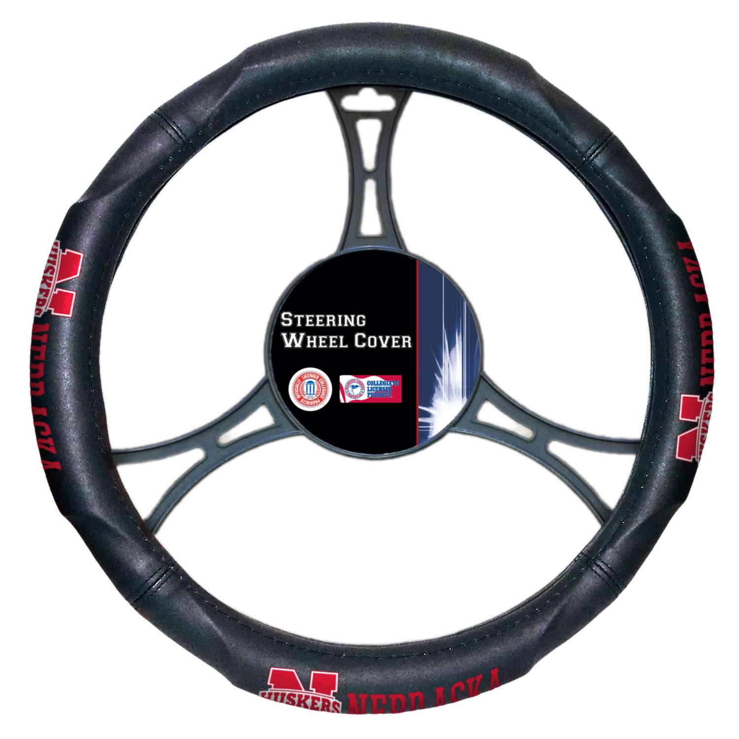 "14.5/""-15.5/"" Black Officially Licensed NCAA Steering Wheel Cover"