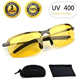 Best Night Driving Glasses, HD Night Vision Polarized Safety Glasses for Fishing | Night Driving | Risk Reducing | Anti-Glare Driver Eyewear Sport Sunglasses for UV400 Eyes Protection Metal Frame Ultra Light(Unisex)