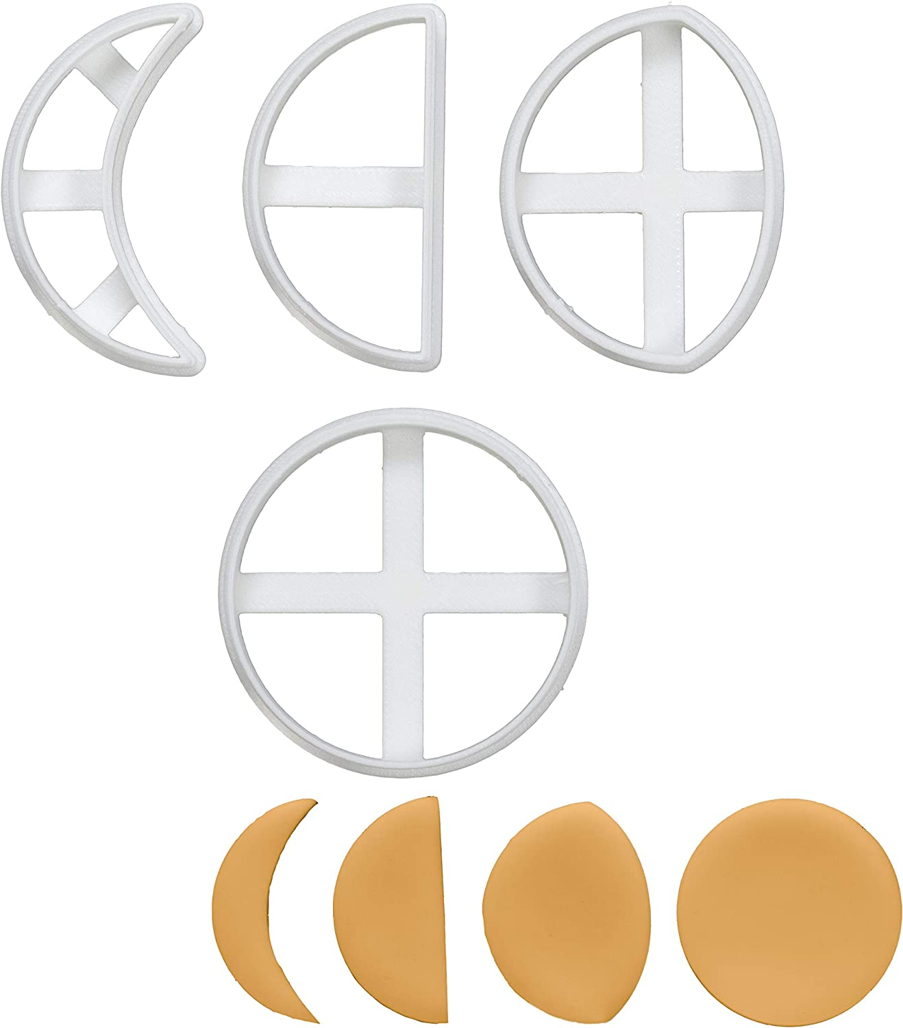 Set of 4 Moon Cycle cookie cutters (Designs: Crescent Moon, Quarter Moon, Gibbous Moon, & Full Moon), 4 pieces - Bakerlogy