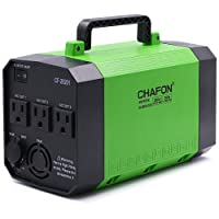 CHAFON 300W Portable Generator Power Inverter,200WH/52800mAh Lithium Battery Backup Power Supply Charged by Solar/Wall Outlet/Cars with 3 110V AC Outlet,4 DC 12V Ports,4 USB Ports (Green)