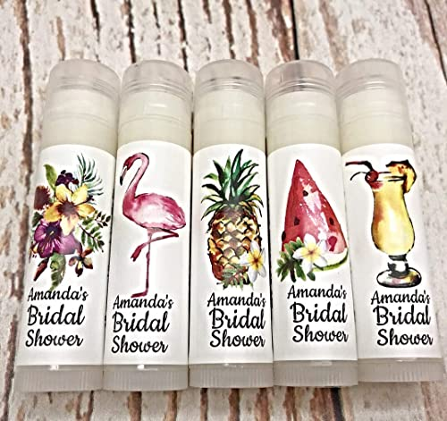 Lip Balm Favor Baby Shower Tropical Chapstick Favors Personalized Beach Chapsticks Sea Party Favor Hawaii Party Theme Favors