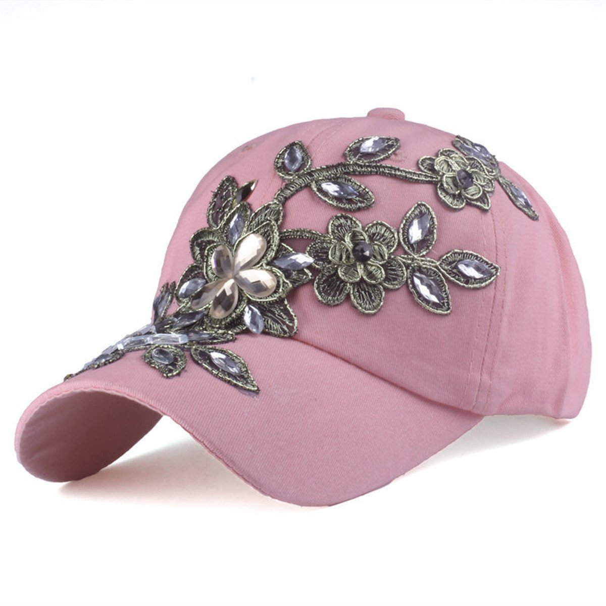 Cozylkx Flower Pattern Adjstable Baseball Cap Womens Sun Hats (Pink-Cotton)