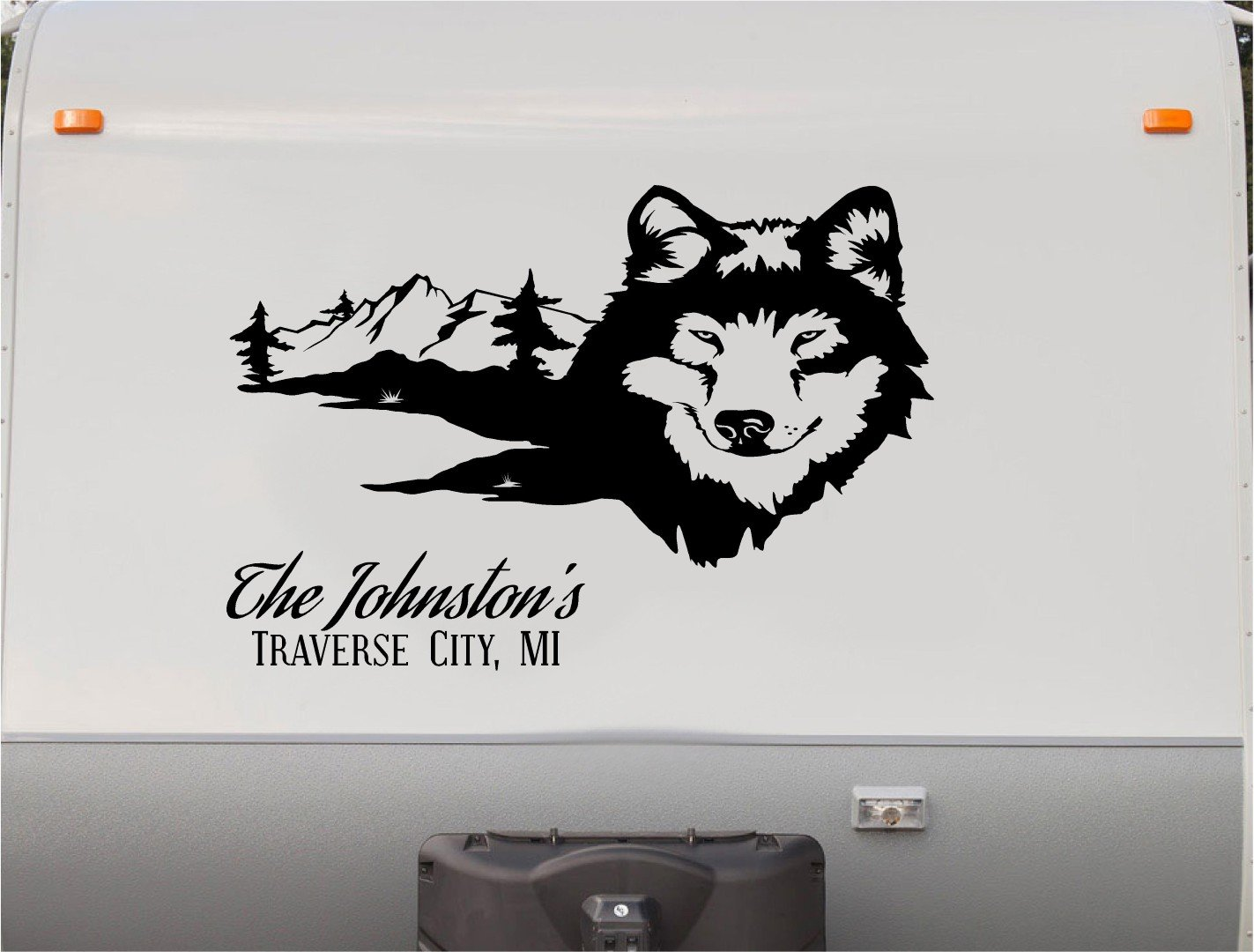 Amazon com wolf wolve custom sign rv camper trailer camping decal sticker graphic mural automotive