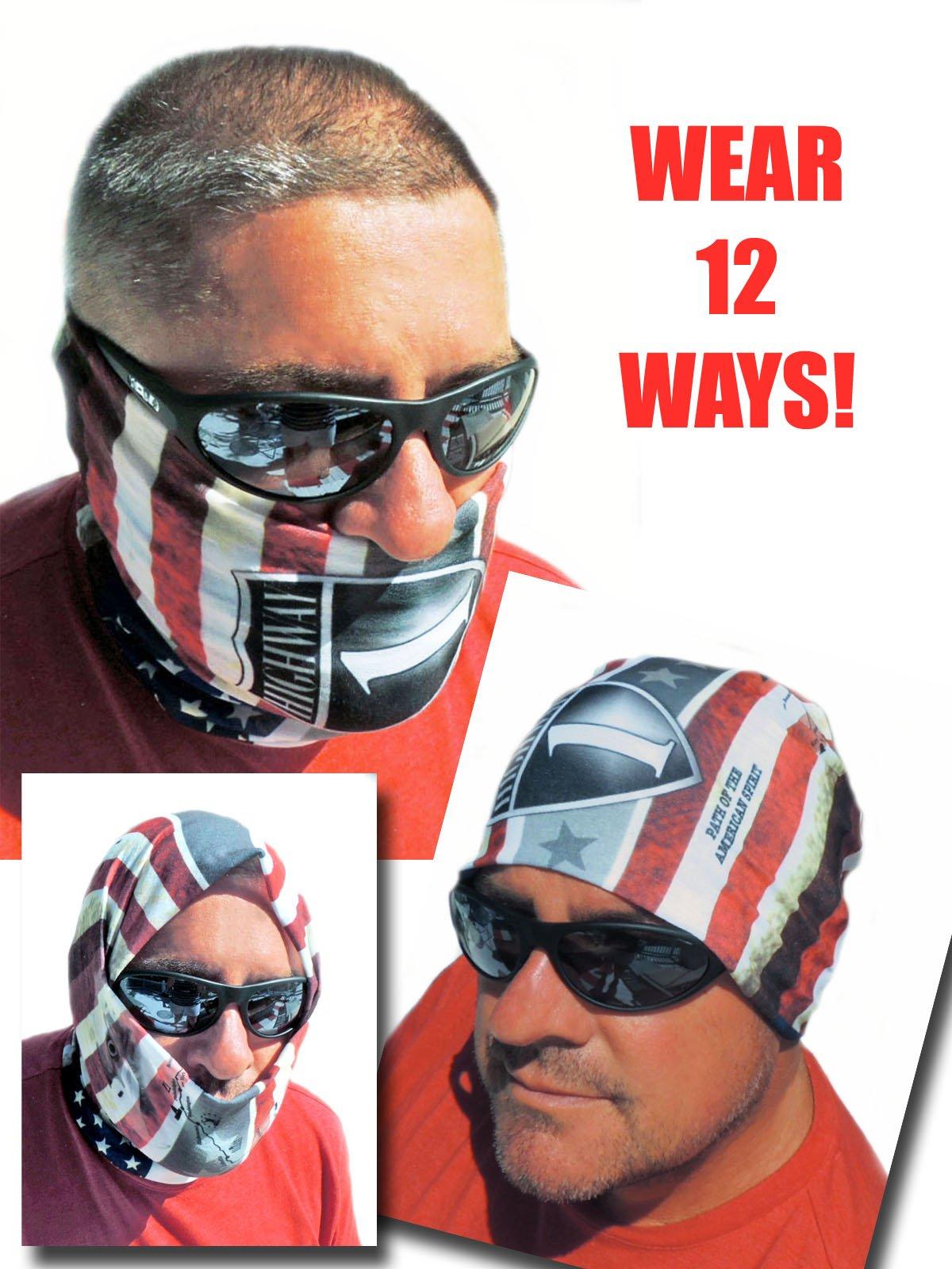 12-in-1 Headband - US American Flag Versatile Sports & Casual Headwear - Wear as a Bandana, Neck Gaiter, Balaclava, Helmet Liner, Mask - High Performance Microfiber