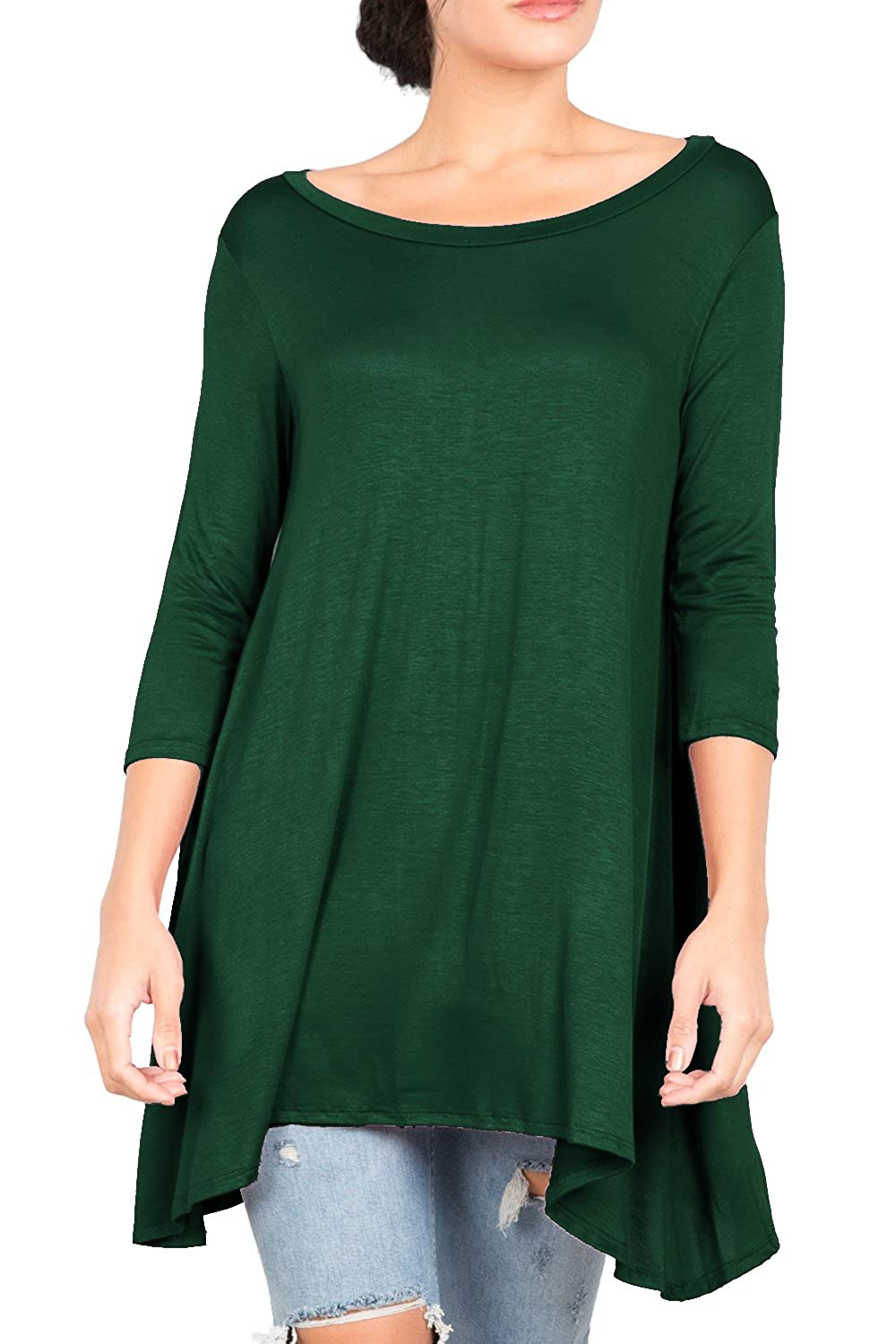 Love In Women's 3/4 Sleeve Round Neck Relaxed Drape Tunic T Shirt Top S~3XL I-T2411