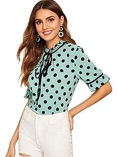 0ffca863e3 SheIn Women's Cute Ruffle Short Sleeve Polka Dot Tops Tie Neck Work Blouse  Shirt